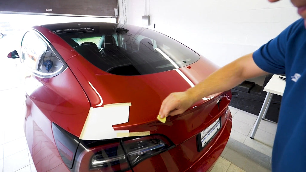 Apply supplied Adhesion Promotor to create a long-lasting and secured hold between your Tesla and the ACS spoiler.