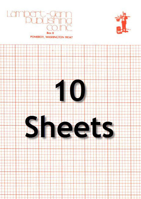 10 sheets of our 25 x 38 inch, 8 squares per inch charting paper