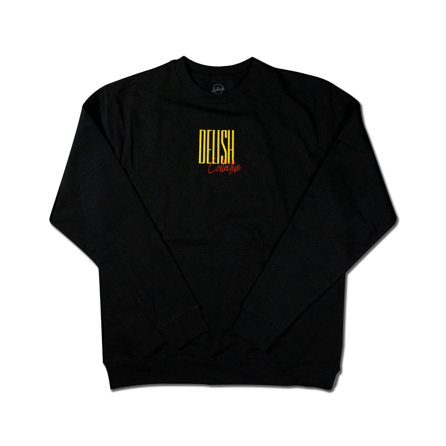 Tall Script Embroidered Black Crewneck