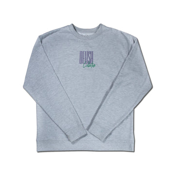 Tall Script Embroidered Grey Crewneck