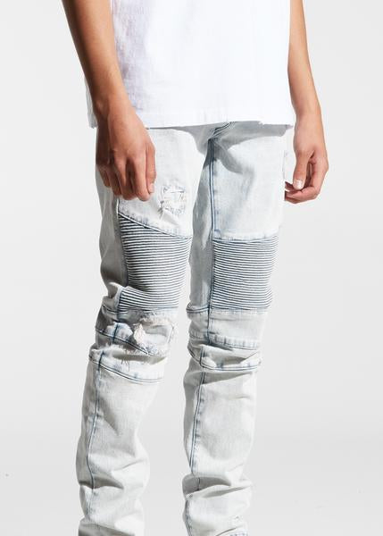 Skywalker Biker Denim (Light Distressed Indigo)