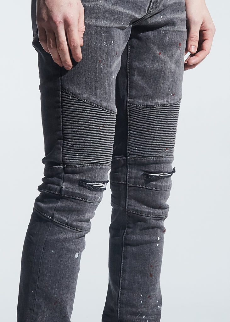 Skywalker Biker Denim (Grey Paint Splatter)