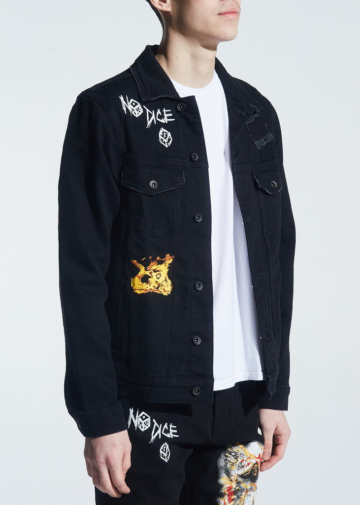Nowell Painted Denim Jacket (Black Painted)