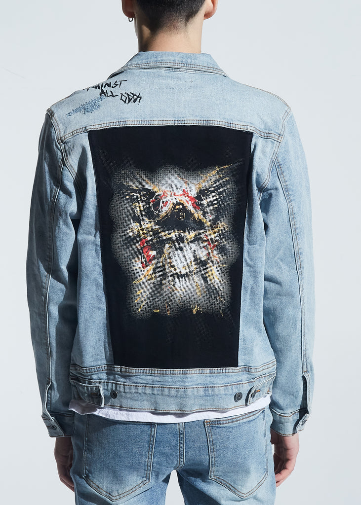 Nowell Painted Denim Jacket (Light Indigo Painted)