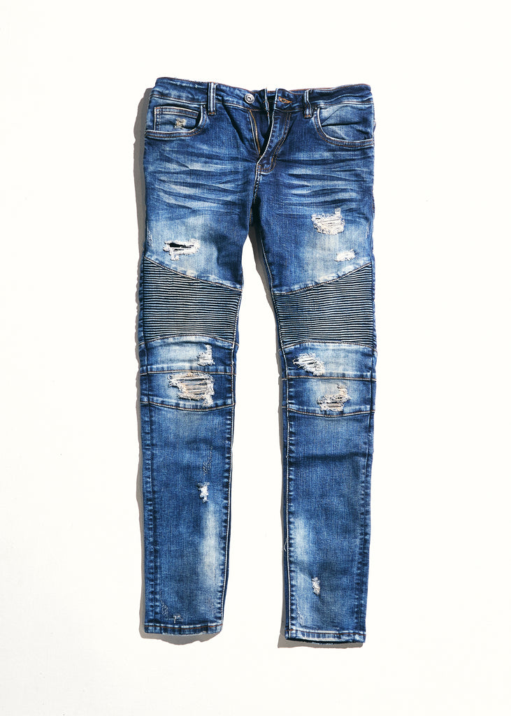Skywalker Biker Denim (Indigo Distressed)