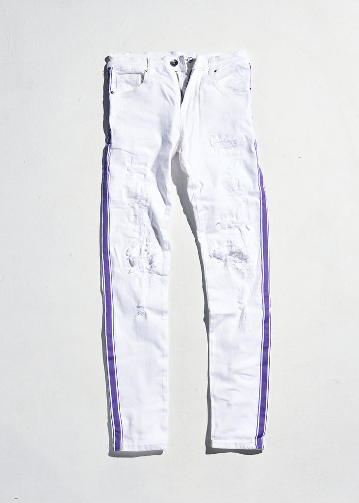 Line Denim (White/Purple)
