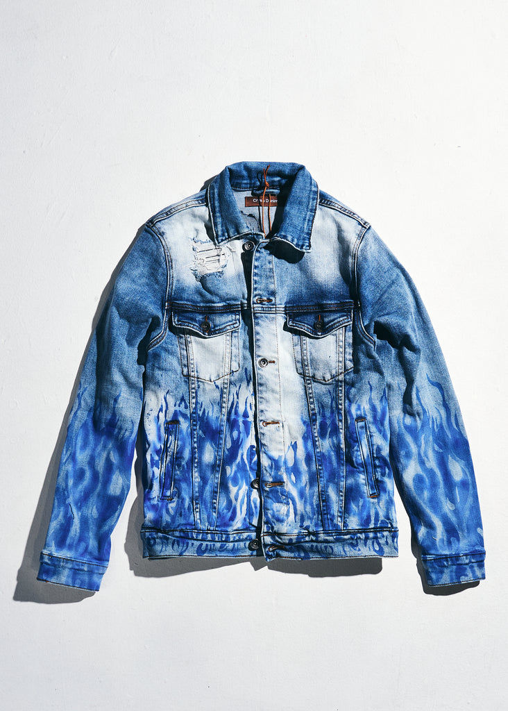 Bering Denim Jacket (Blue Flames)