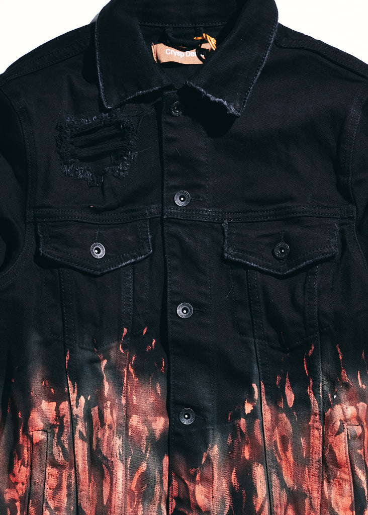 Bering Denim Jacket (Red Flames)
