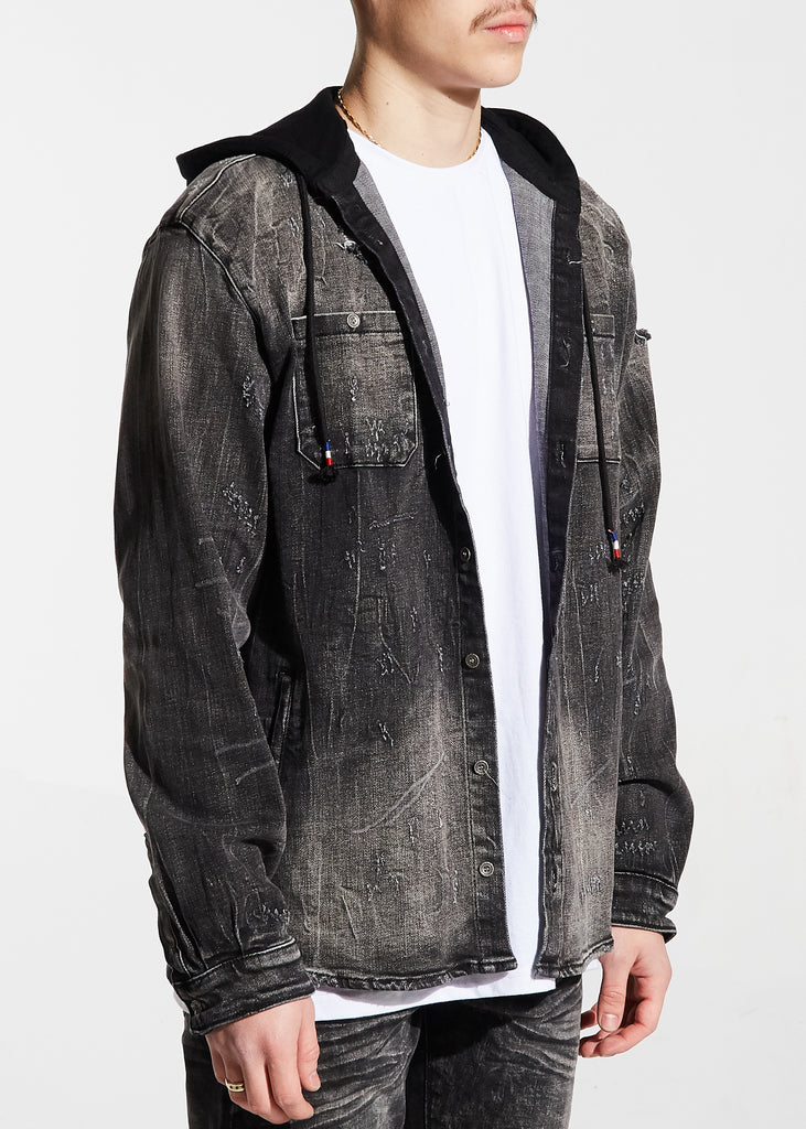 Walsh Denim Hooded Shirt (Black)