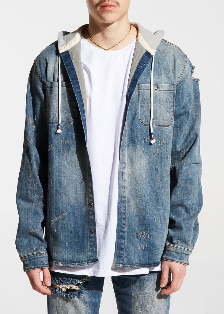 Walsh Denim Hooded Shirt (Blue)