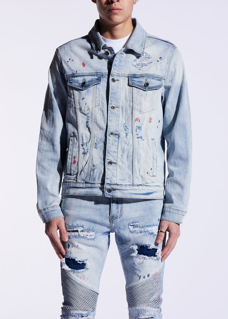 Bering Denim Jacket (Light Blue Patchwork)