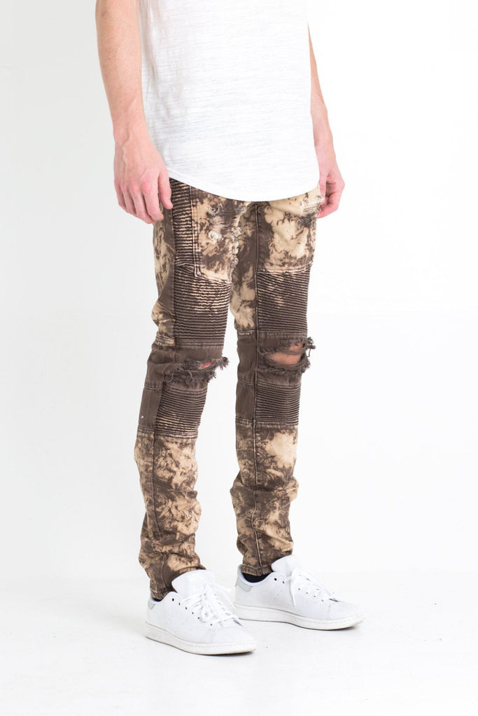 JORDAN BIKER DENIM (DISTRESSED BROWN)