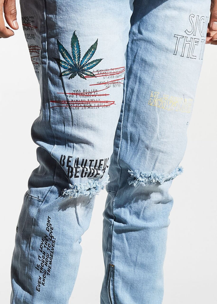Pacific Denim (Light Blue Script)
