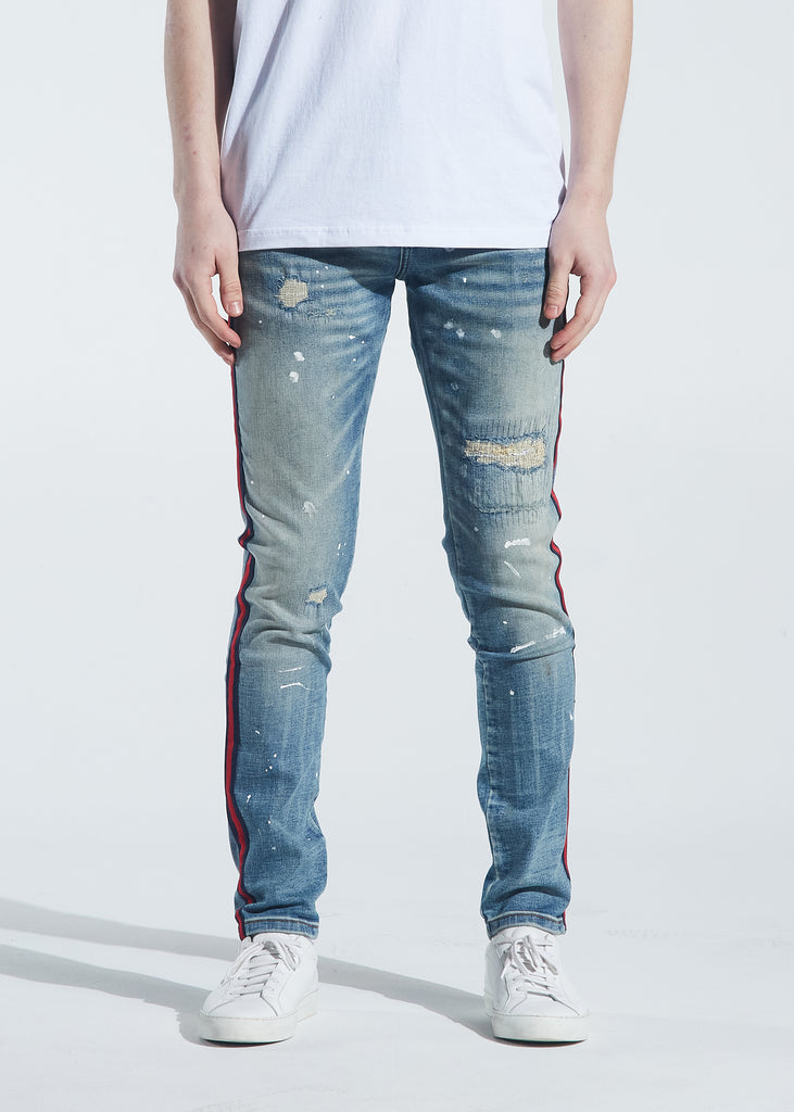 Atlantic Striped Denim (Indigo Paint Splatter)