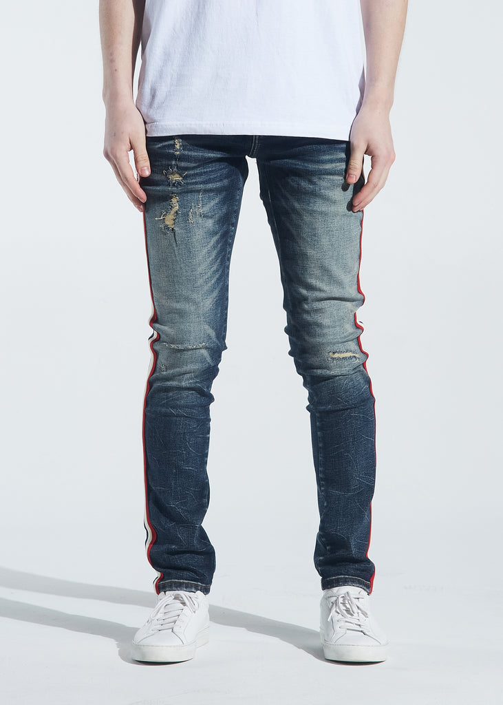 Atlantic Striped Denim (Light Indigo Fade)