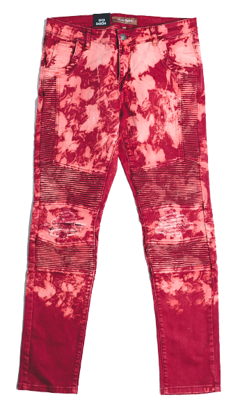JORDAN BIKER DENIM (DISTRESSED RED)