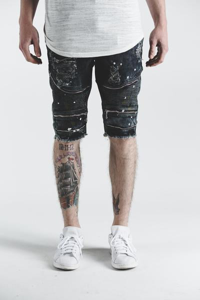 Pete Biker Denim Shorts (Black Paint)