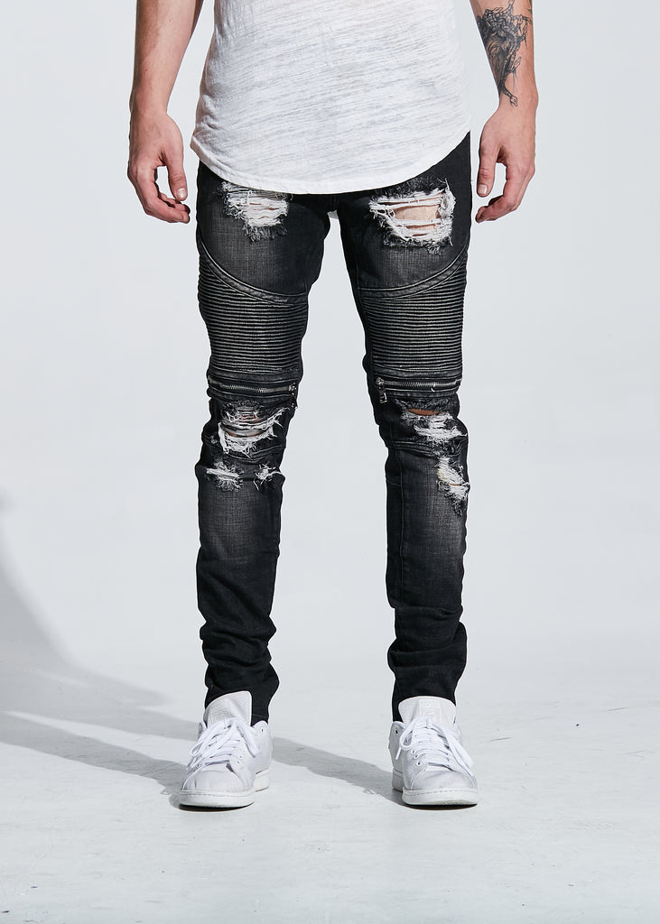 PETE BIKER DENIM (BLACK WASH)