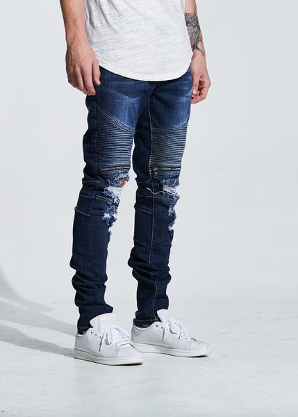 Pete Biker Denim (Indigo Ripped)