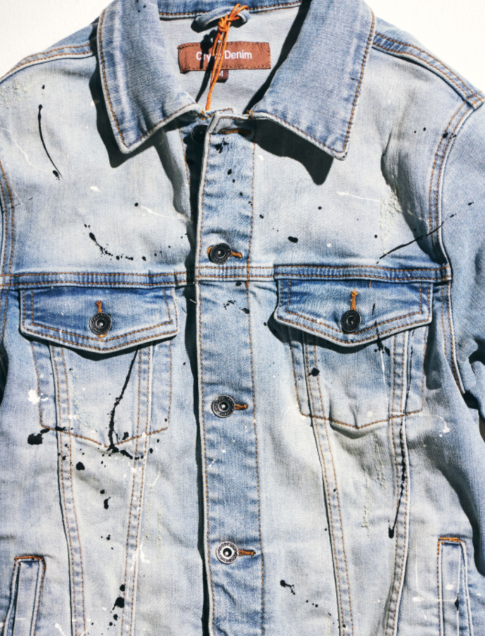 Bering Denim Jacket (Light Vintage Paint Splatter)