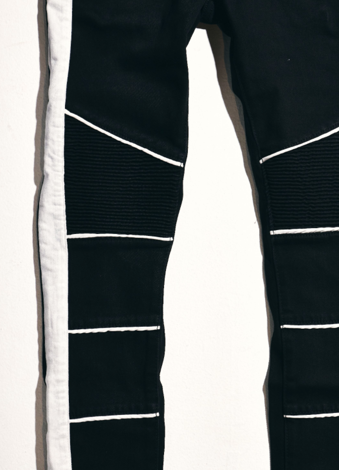 Stripe Biker Denim