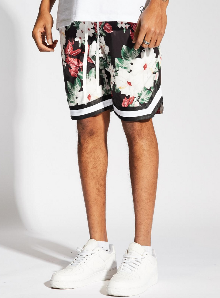 Jordan Ball Shorts Floral (Black/White)