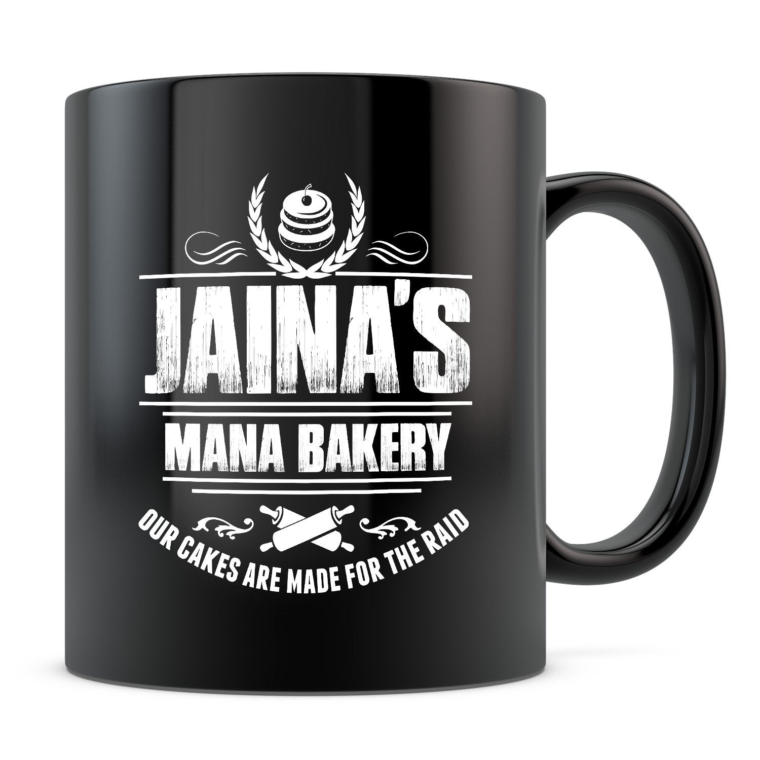 Jaina's Mana Bakery - 11oz/15oz Black Mug-Coffee Mug-CustomCat-11oz Mug-Black-