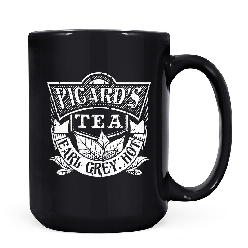 Picard's Tea - 11oz/15oz Black Mug-Coffee Mug-CustomCat-11oz Mug-Black-