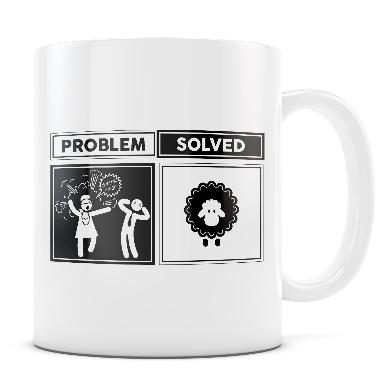 Problem Solved - 11oz/15oz White Mug-Coffee Mug-CustomCat-11oz Mug-White-