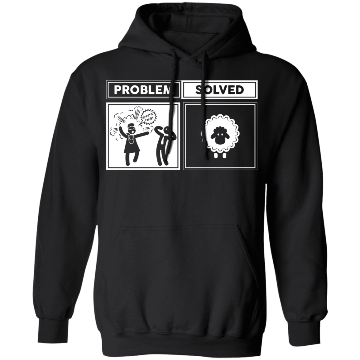 Problem Solved - Hoodie-Hoodie-CustomCat-Black-S-