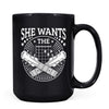 She Wants the D - 11oz/15oz Black Mug-Coffee Mug-CustomCat-15oz Mug-Black-
