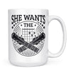 She Wants the D - 11oz/15oz White Mug-Coffee Mug-CustomCat-15oz Mug-White-