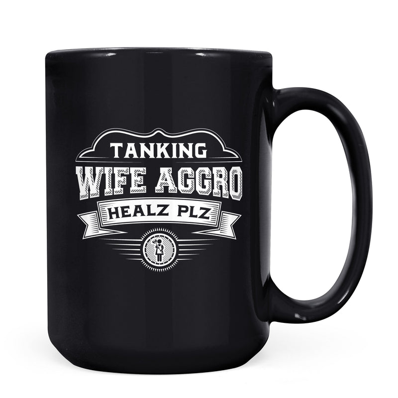 Wife Aggro - 11oz/15oz Black Mug-Coffee Mug-CustomCat-11oz Mug-Black-