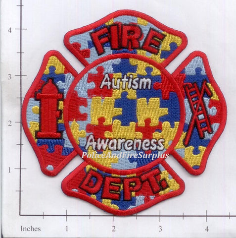 Autism Awareness Fire Dept Patch