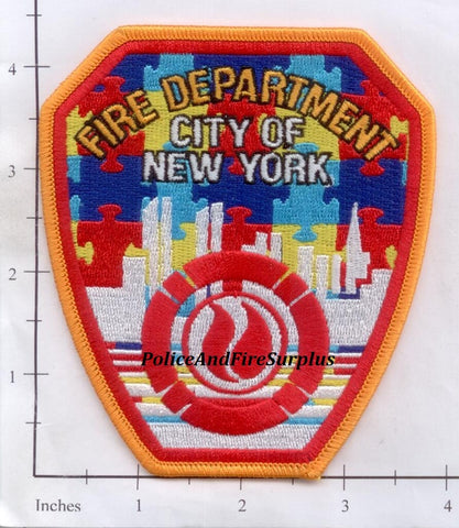 New York City Fire Dept Shoulder Patch Autism Awareness