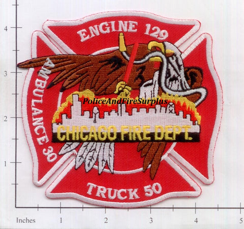 Illinois - Chicago Engine 129 Truck 50 Ambulance 30 Fire Dept Patch