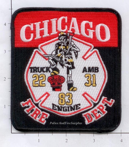 Illinois - Chicago Engine  83 Truck 22 Ambulance31 Fire Dept Patch v1