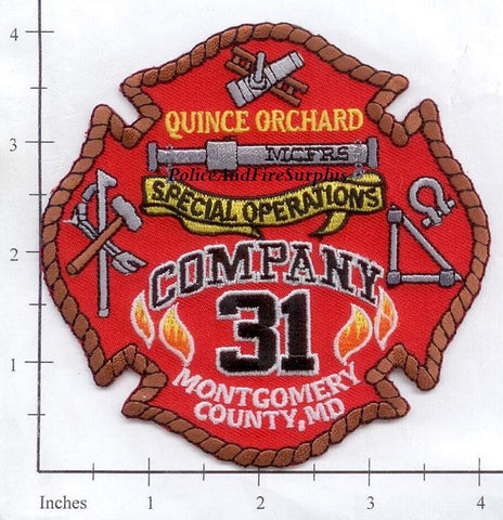 Maryland - Montgomery County Company 31 Fire Dept Patch