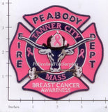Massachusetts - Peabody Fire Dept Patch Breast Cancer Awareness