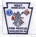 Mississippi - Pearlington  - West Hancock Fire Rescue Fire Dept Patch