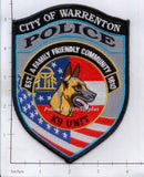 North Carolina - Warrenton K-9 Police Dept Patch