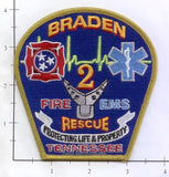 Tennessee - Braden 2 Fire Dept Patch