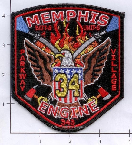Tennessee - Memphis Engine 34 Battalion 8 Unit 8 Fire Dept Patch