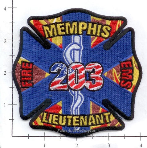 Tennessee - Memphis Lieutenant 203 Fire Dept Patch