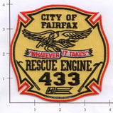 Virginia - Fairfax Engine 433 Rescue 433 Fire Dept Patch