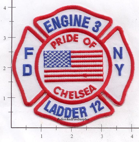 New York City Engine   3 Ladder 12 Fire Dept Patch v9 Flag