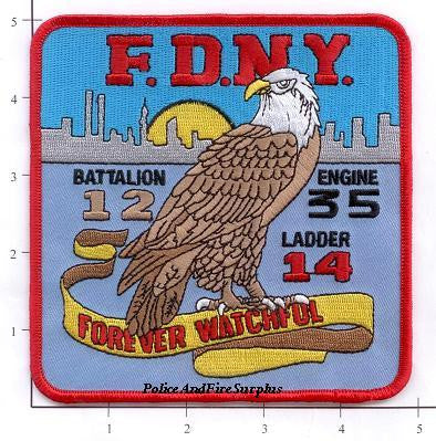 New York City Engine  35 Ladder 14 Battalion 12 Fire Patch v3
