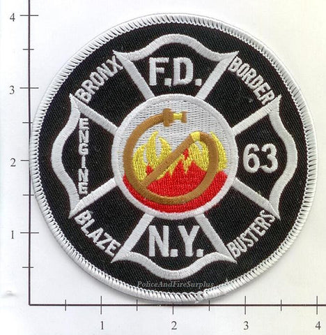New York City Engine  63 Fire Dept Patch v8 Black Round