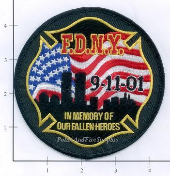New York - New York City Fire Dept Patch WTC 9-11 patch v1 - In Memory Of Our Fallen Brothers Black Circle