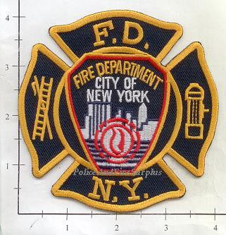 New York City Fire Dept Maltese Cross with Shoulder Patch Insert v4